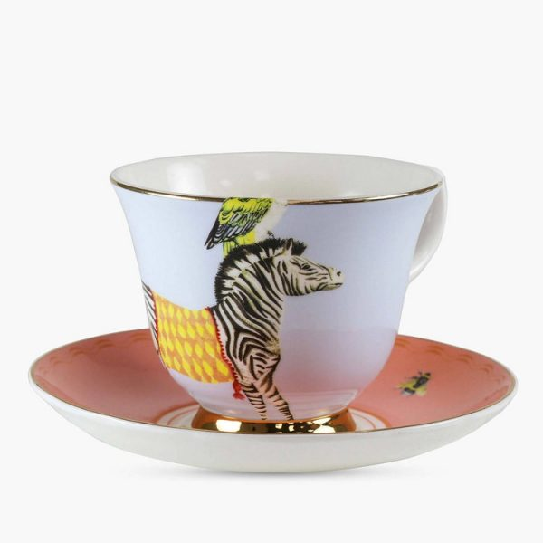 Yvonne Ellen Cup-and-saucer-Carnival-Zebra